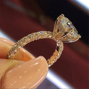 2CT Oval Rose Gold Diamond Engagement Wedding Ring